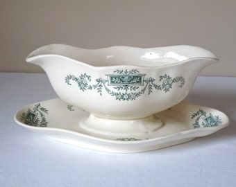 French Antique Sauceboat Serving Bowl Early 20th Century Vintage Gravy Boat Longchamp green decor transferware - french ironstone