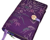 Large Bible Cover, Can be Made to Measure, Vintage Kimono Silk, Tachibana Flower Purple, UK Seller, Suitable for Hardback or Paperback Books