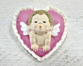 Vintage HALLMARK Valentines Day Brooch Pin, Pink Heart Brooch, Kissing Angel Cupid Brooch, 1980s Valentines Day Jewelry, Valentines Day Gift