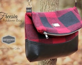 Plaid Wool Foldover Bag in Black and red, Freesia Purse, tote, crossbody fold over,