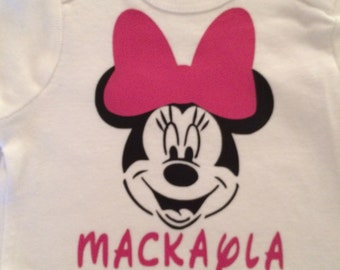 Personalized Minnie Mouse Baby  Onesie Bodysuit short sleeve