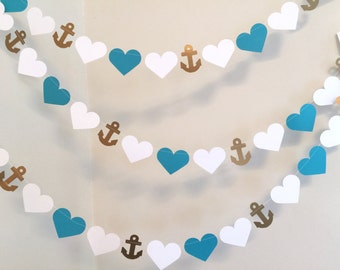 Wedding Garland / 10ft Anchors and Heart Garland / Teal and Gold  Beach wedding Decor / Nautical Bridal Shower Decor / your color choice