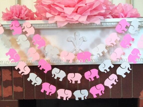 elephant garland elephant baby shower decorations pink gray