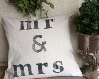 Mr and Mrs Feather Pillow