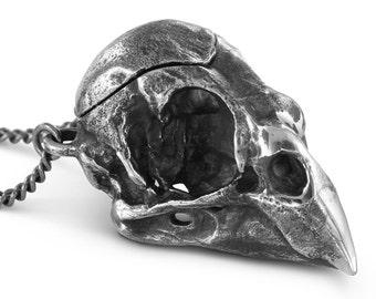"""Bird Skull Locket - Antique Silver Cardinal Skull Locket on 24"""" Gunmetal Chain"""