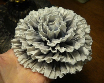 Ghostly Ruffled Rose Ribbon Flower Applique