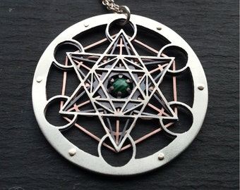 Large Malachite Metatron's Cube Pendant - triple layer sterling silver, oxidised copper and 9ct gold - Handcrafted Sacred Geometry Jewellery