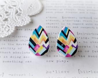 Wooden Teardrop Colourful Geometric Zig Zag Stud Earrings