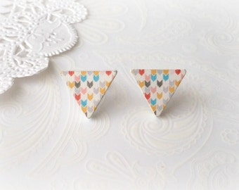 Wooden White & Colourful Arrow Triangle Stud Earrings