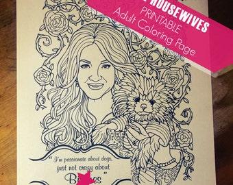 Real Housewives Adult Coloring Page - Lisa Vanderpump, Digital