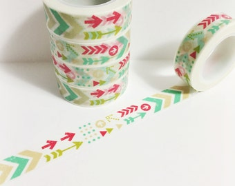 Dark Pink Mint Green Lime Green Beige Arrows Chevron Arrow Washi Tape 11 yards 10 meters 15mm
