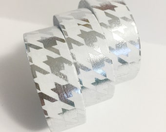 SALE Bright Shiny Metallic Silver Foil Houndstooth Silver Washi Tape 11 yards 10 meters 15mm