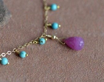Pink Sapphire Necklace, Delicate Gold Chain, Natural Turquoise Fringe