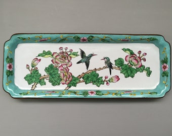 Vintage Aqua and White Enamel Tray with Peonies and Birds