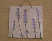 Ceramic plaque with lavender - Ceramic lavender wall art - botanical wall ornament - country home decor