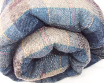 Felted Wool Plaid Fabric Yardage in Greys, Blues, Maroon and Yellow 1.75 yards