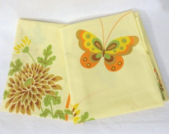 Pair (2) of vintage sheet pillowcases - dalias and butterflies