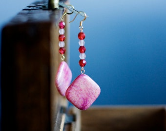 Magnesite Pink Earrings White Red Beaded Magnesite Earrings Square Beads Dangle Earrings - E294