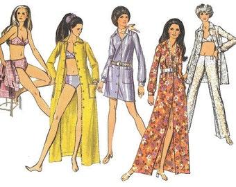 Vintage 1970 Bathing Suit Hip Hugger Pants Maxi or Mini Shirt-Shift Pattern UNCUT Simplicity 8748 Two Piece Swimsuit Sz Miss 12