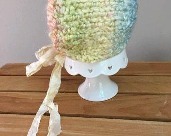 Newborn Bonnet, Hand Knit Softest Pale Colors Bonnet,  Newborn Photography Prop, Ready To Ship, Baby Bonnet, CLEARANCE