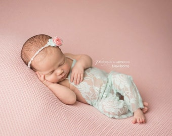 Newborn Lace Romper and Tie back Set, Sea Green Stretch Lace with Yarn and Flower Tie Back, Newborn Photography Prop, Lace Romper, Baby