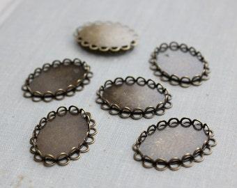 18x25mm Bronze Double Lace Edge Cabochon Settings
