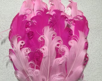 Tri Colored Lt Pink, Hot Pink and Pink Nagorie Feather Pad, Curly Nagorie Feather Pad, Goose Feather Pad, DIY Feather Pad for Headbands