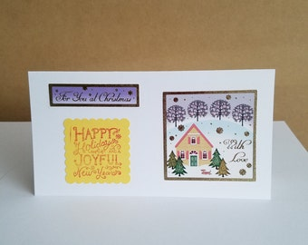 Christmas money card, handmade holiday card, seasonal card, from our house to yours