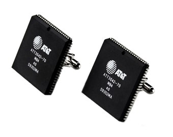 Computer Chip Cufflinks - Engineer Present - Wedding Gift - Handmade - Gift Box Included