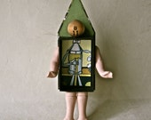 Mixed Media Assemblage Art Doll House with Vintage Game and Doll Parts for Home or Office Decor