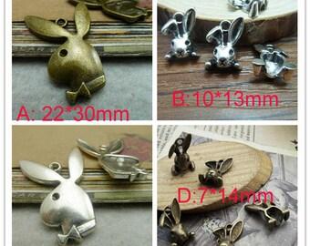 50pcs Ancient silver/ Ancient bronze  Rabbit  Charm Pendant
