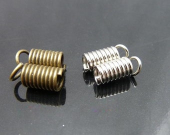 100 pcs  4.5x8mm Antique Bronze Vintage Brass Spring Connectors Clasps for Necklace tm