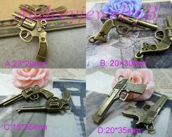 5pcs Antique Silver / Antique Bronze Sniper gun, gun, Handgun,bullet Large Sniper Rifle Gun Charms Pendant
