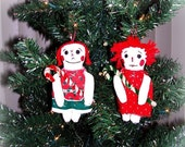 SALE Happy New Years Day Folk Art Christmas Raggedy Ann Doll Christmas Ornies Ornaments Set of 2 keb#7