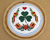 vintage 70s irish hex sign counted cross stitch finished hand made