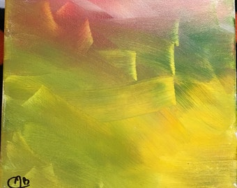 Abstract Rainbow Painting Acrylic 8x8 Yellow, Green, Red