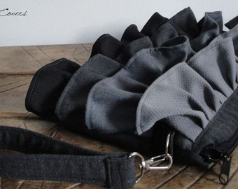Customizable Colors Fabric ruffles bag-Everyday Bag-Messenger Bag-Tote Bag-HandBag-exterior Pocket hidden under the ruffle-Waterproof lining