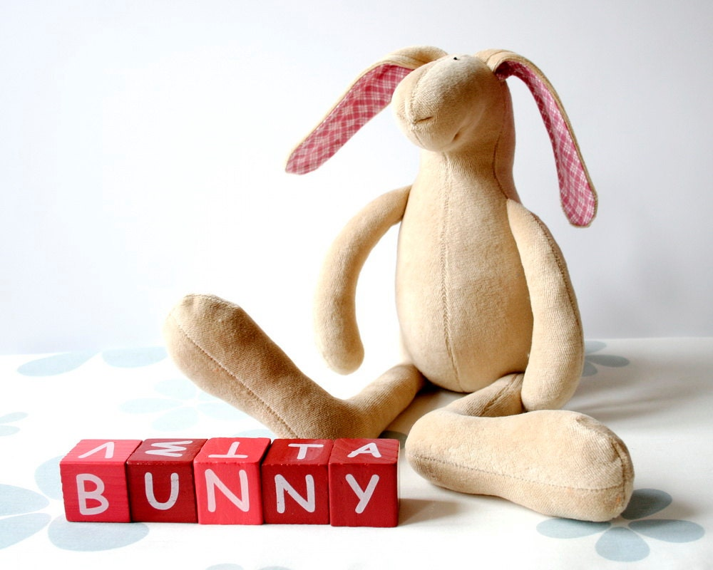 Easter Bunny, Grey Plush Rabbit - soft stuffed bunny with colorful ears