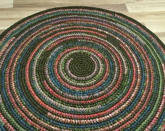 Beautiful hand crochet rug in moss green, 37'' in diameter