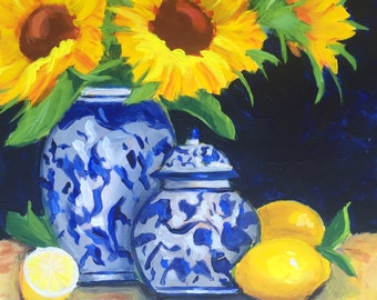 Original painting:  Sunflowers and Lemons with Blue and White Vase and Ginger Jar