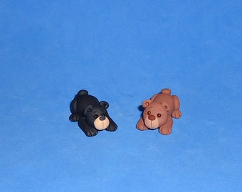 Polymer Clay Tiny Black or Brown Bear (ONE)