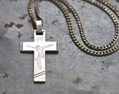 Mens Cross Necklace - Sterling Silver - Modern Crucifix Pendant of Chain