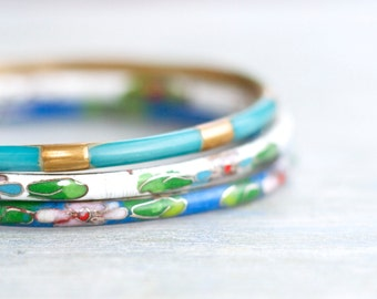 Cloisonne Bangles - Instant Collection of 3 Bracelets - Blue with Enamel Flowers