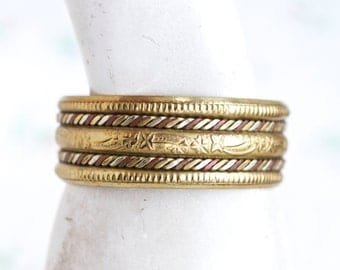 Wide Brass Bracelet - Boho Bangle with copper Twists
