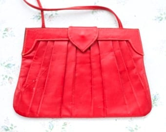 Cherry Red Leather Handbag - Vintage Pleated Crossbody Purse - Waves London - Made in India