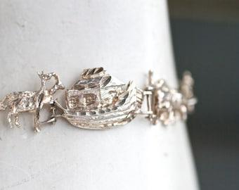 Noah's Arc Bracelet - Sterling Silver Links bracelet - Vintage Jewelry