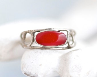 Boho Red Ring - Size 6.5 - Vintage Hippie Jewelry