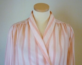 1980s Pink Stripe Blouse for Women, Size 8