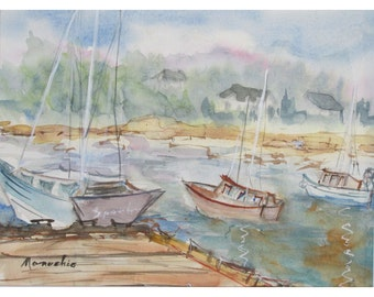 Misty Harbor, Maine - Original Watercolor