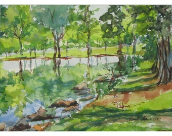 Summer Shadows - Original Impressionistic  En Plein Air 10 by 14 inch Watercolor
